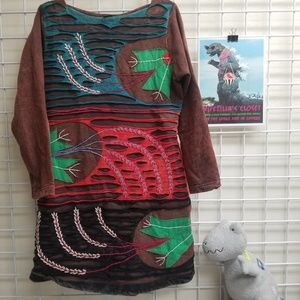 Rising International Brown Long Sleeve Art Top